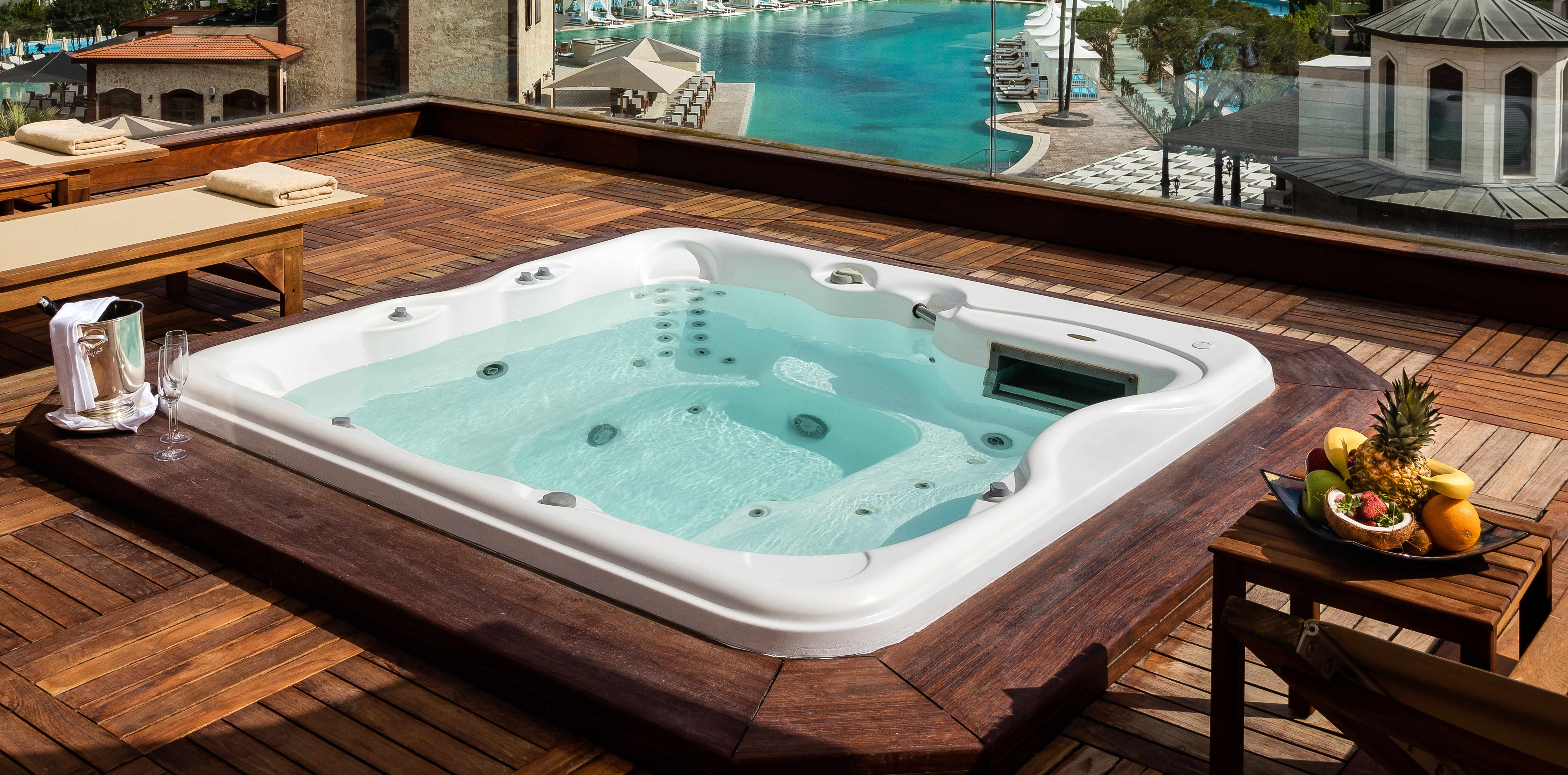 Jacuzzi,On,The,Terrace,Of,A,Luxury,Hotel,,Wine,Glasses