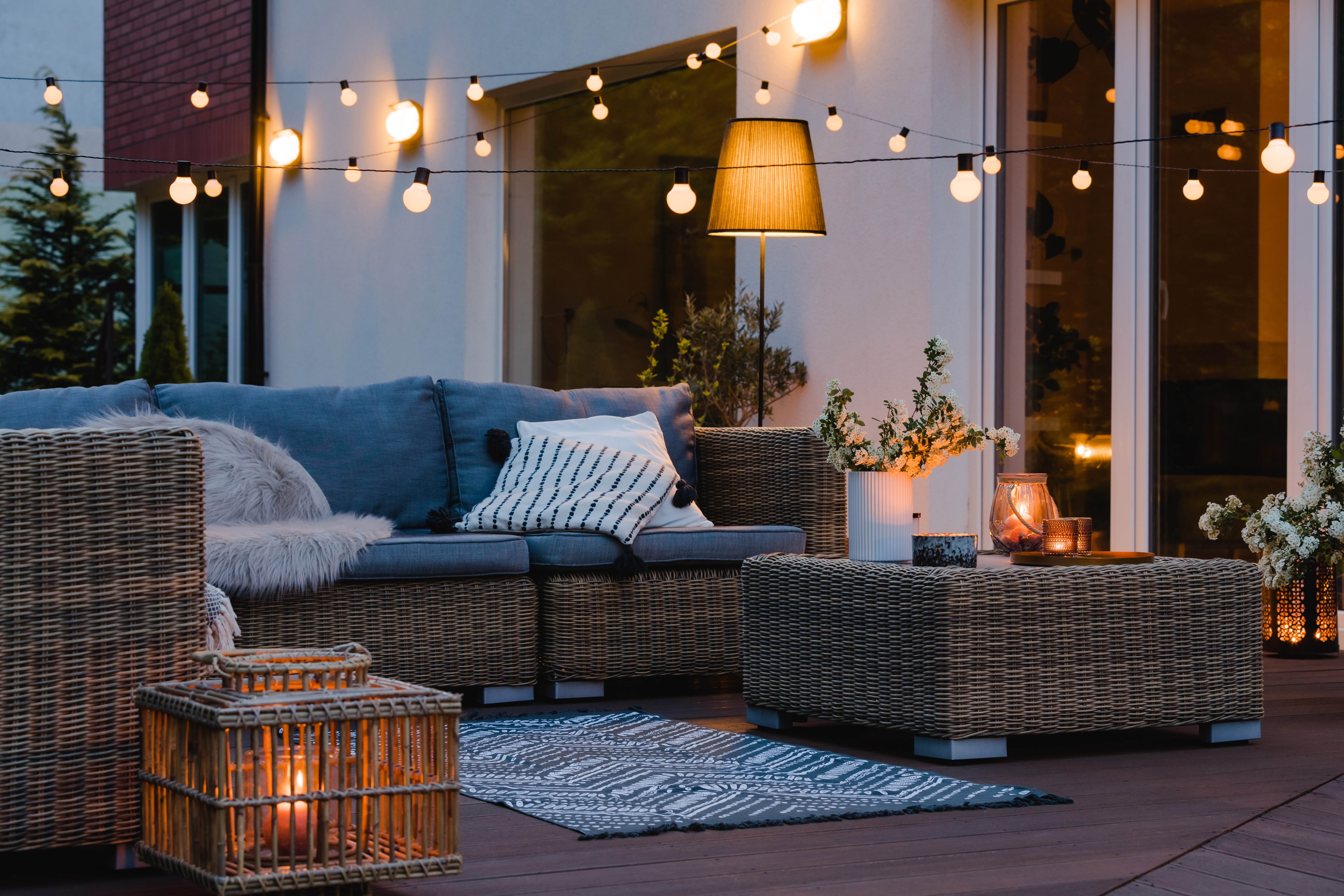 Summer,Evening,On,The,Patio,Of,Beautiful,Suburban,House,With