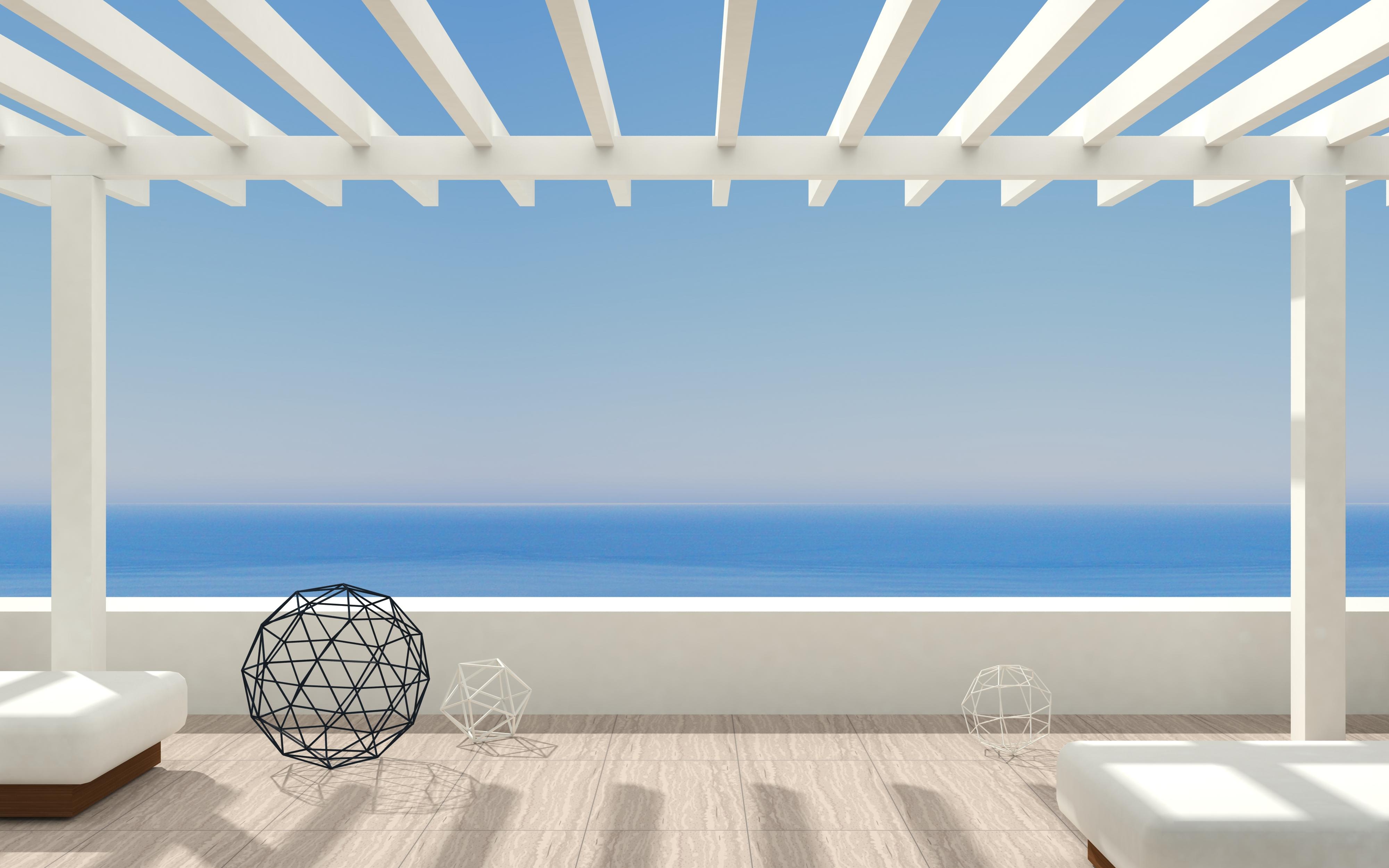 3d,Illustration.,Patio,Or,Terrace,Modern,Luxury,Villas,With,Sea